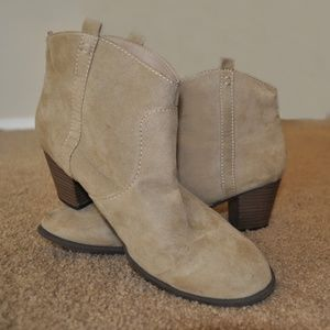 Shoes - Sand faux suede heeled booties 9 women